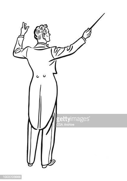 ilustraciones, imágenes clip art, dibujos animados e iconos de stock de conductor de música - director de orquesta