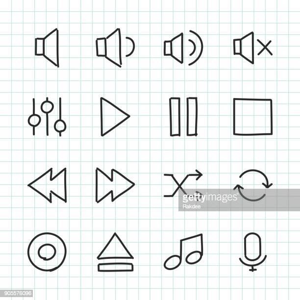 Icono de Control de música - serie dibujados a mano