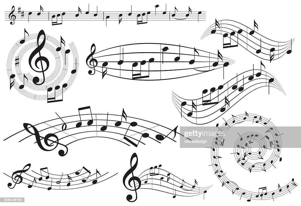 music design elements with notes - vector set