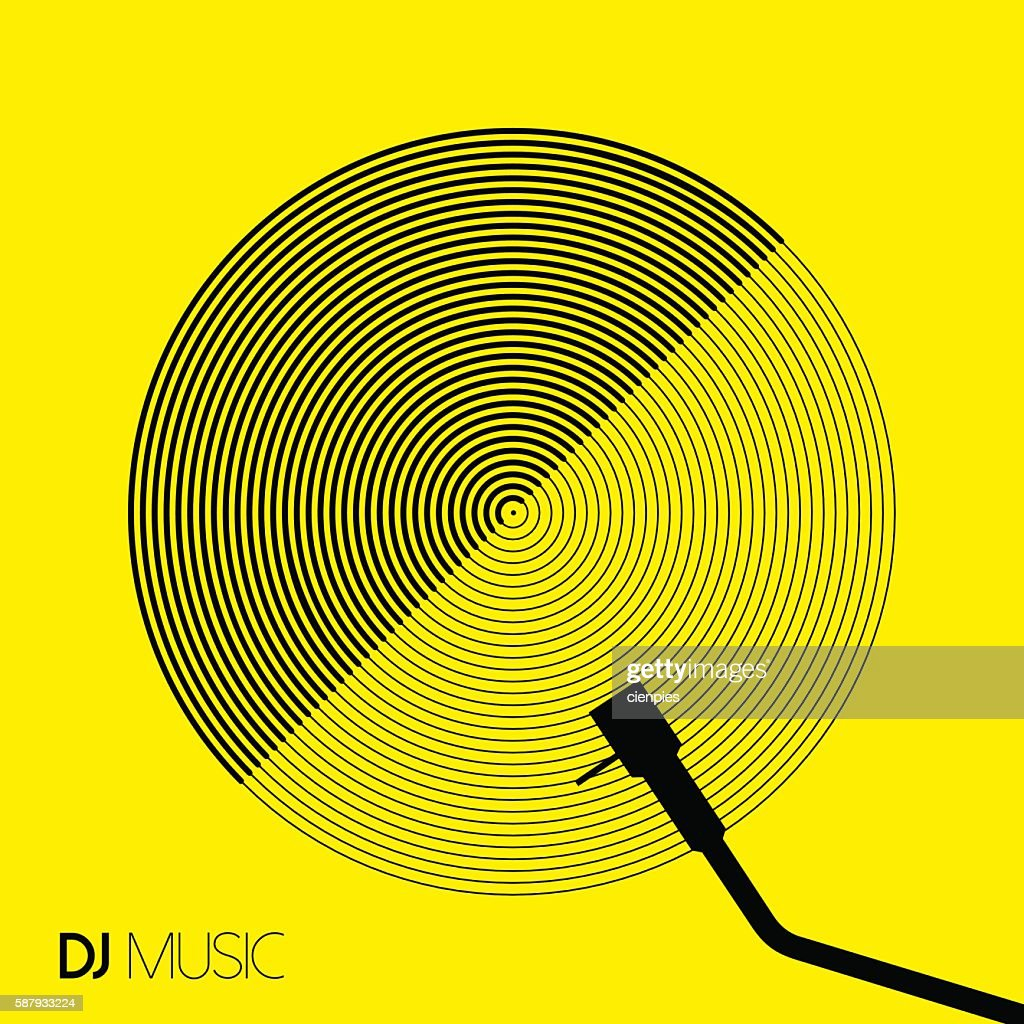DJ music design geometry circle vinyl in line art