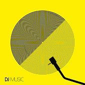 DJ music design geometry circle vinyl in line art