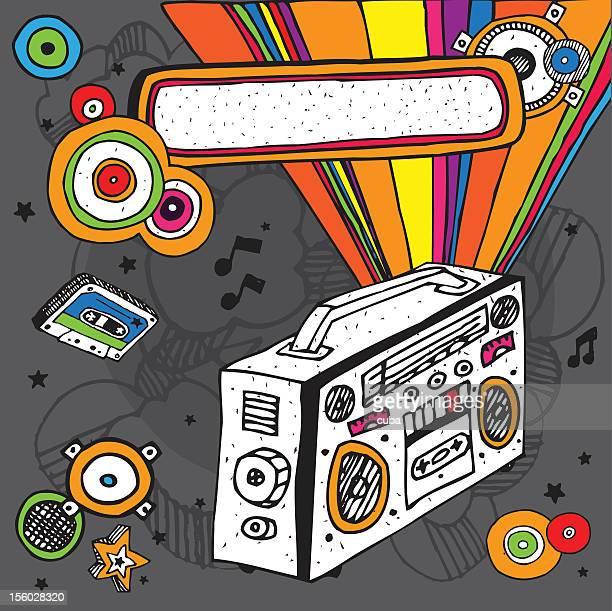 music doodle composition - cassette stock illustrations, clip art, cartoons, & icons