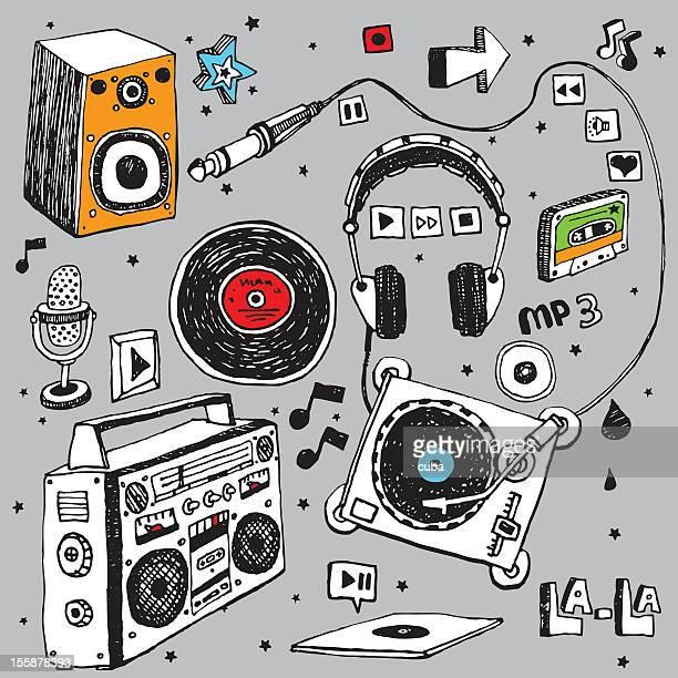 ilustrações, clipart, desenhos animados e ícones de conjunto de doodle de música - rabisco desenho