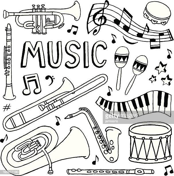 music doodles - saxaphone stock illustrations, clip art, cartoons, & icons