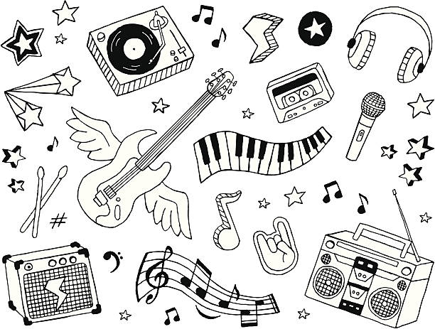 music doodles - doodle stock illustrations