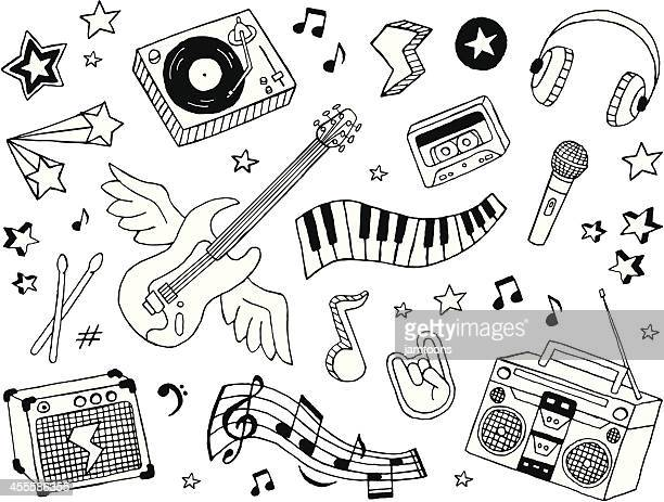 music doodles - musical instrument stock illustrations, clip art, cartoons, & icons