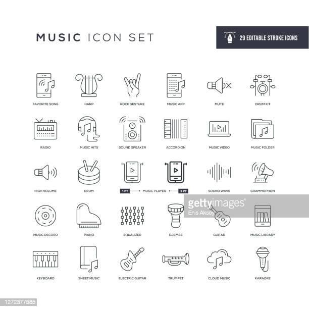 music editable stroke line icons - music stock illustrations