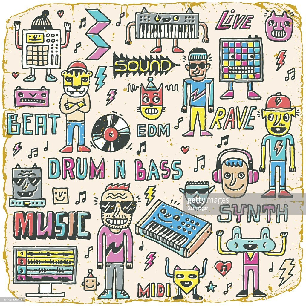 Music Electronic Style Funny Wacky Doodle Set.
