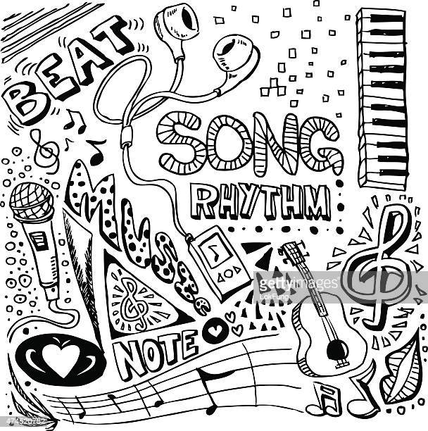 Music elements sketch in black and white