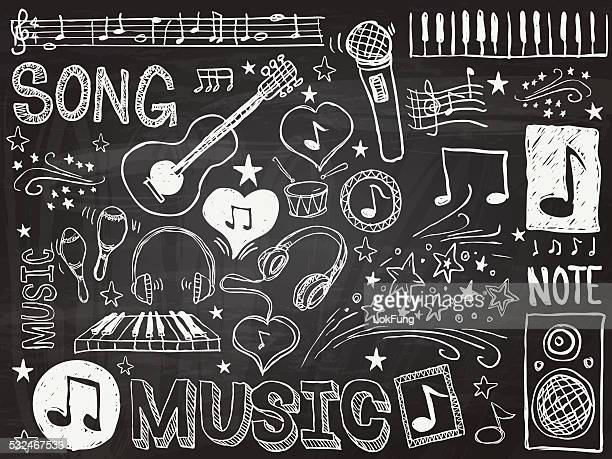 music elements sketch - musical instrument stock illustrations, clip art, cartoons, & icons