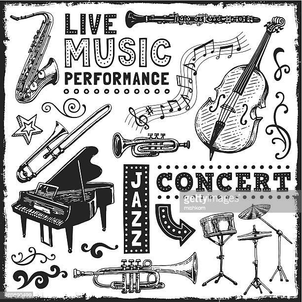 music elements - saxaphone stock illustrations, clip art, cartoons, & icons