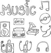 Music equipment in black and white