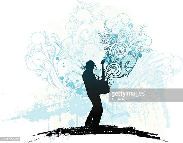 music explosion - grimes musician stock illustrations