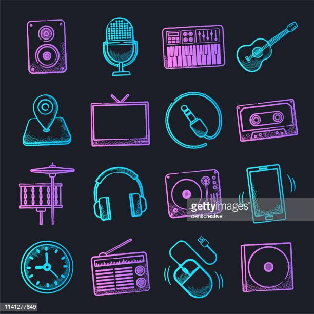 music fame & influence neon doodle style vector icon set - musician stock illustrations, clip art, cartoons, & icons