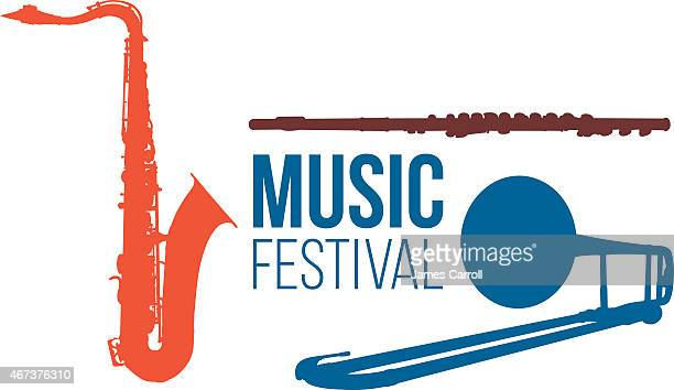 music festival graphic with instruments - saxaphone stock illustrations, clip art, cartoons, & icons
