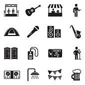 Music Festival Icons. Black Flat Design. Vector Illustration.