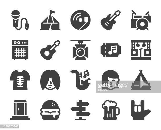 music festival - icons - percussion instrument stock illustrations