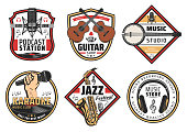 Music festival karaoke or studio instruments icons