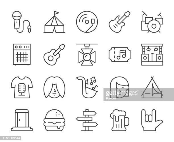 music festival - light line icons - amplifier stock illustrations