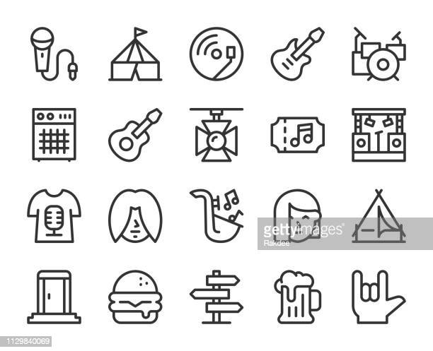 music festival - line icons - percussion instrument stock illustrations