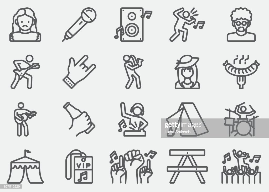Music Festival Line Icons