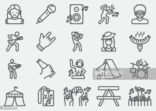 music festival line icons - tent stock illustrations, clip art, cartoons, & icons