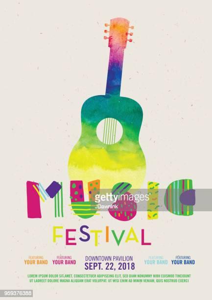 music festival poster design template - music festival stock illustrations
