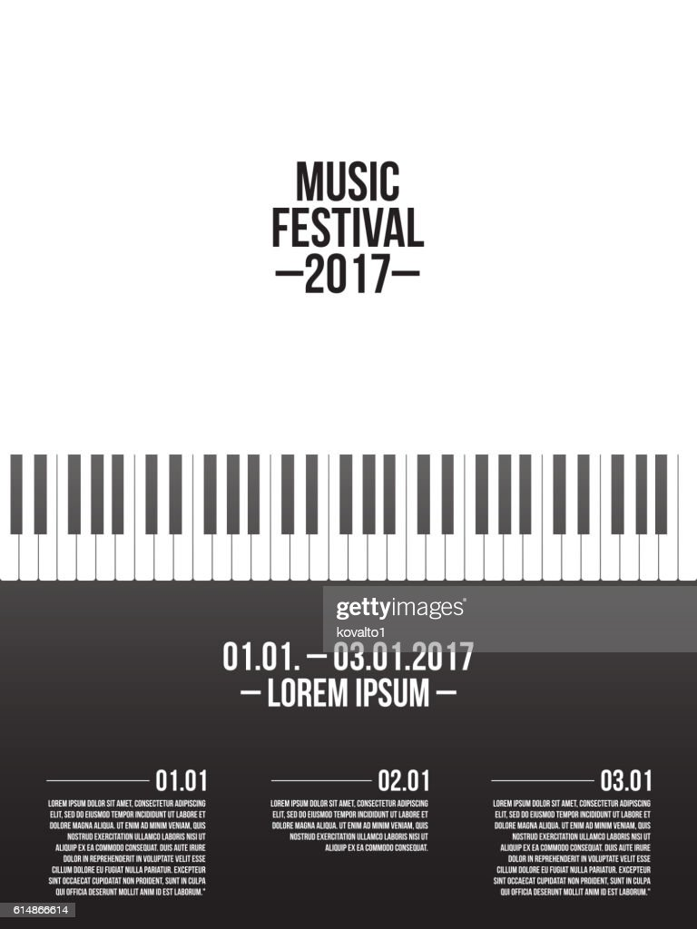 Music festival poster template with piano keyboard