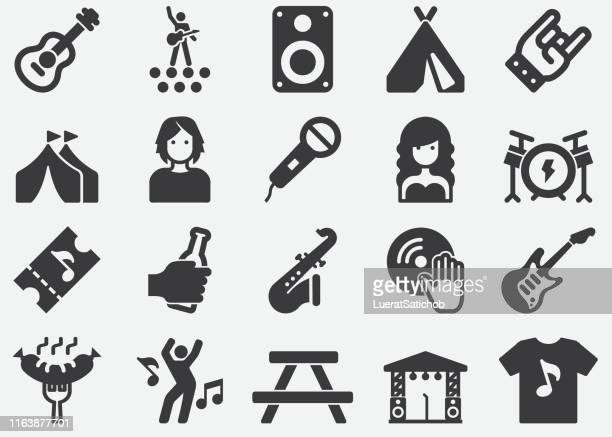 music festival silhouette icons - percussion instrument stock illustrations