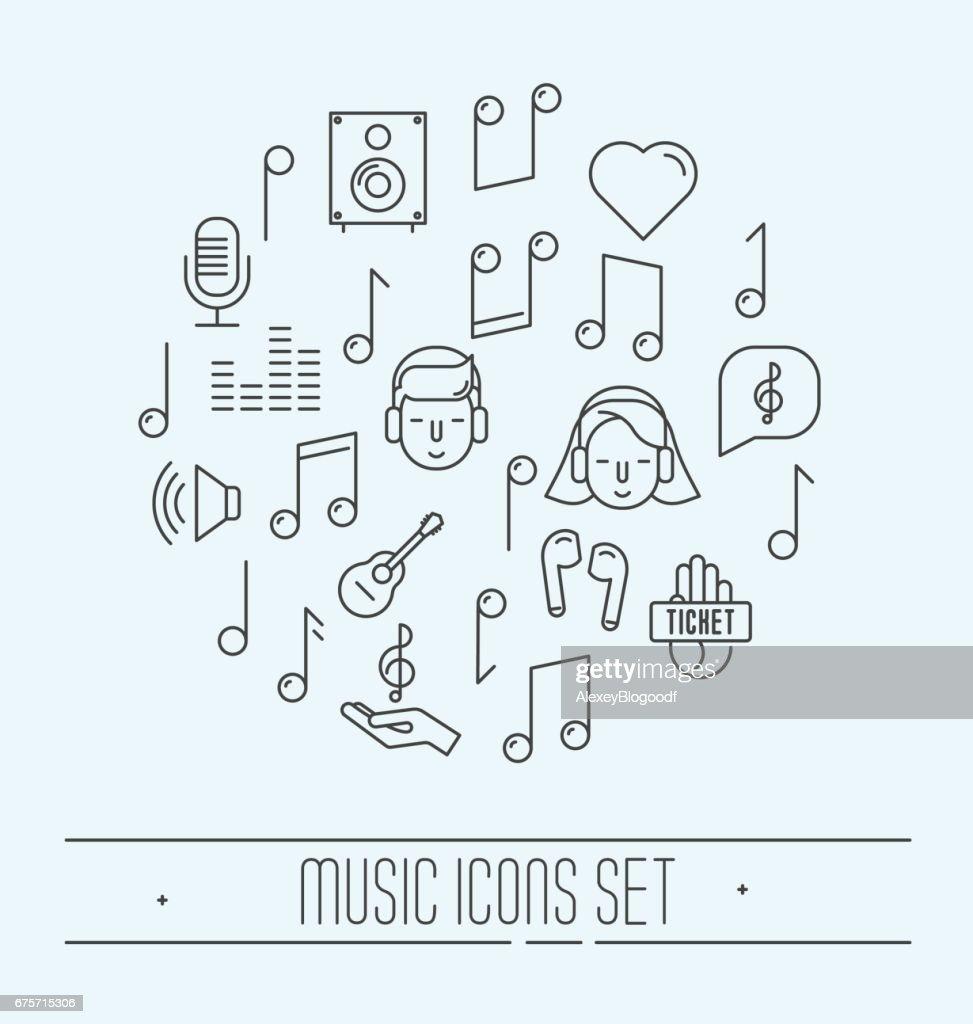 Music festival thin line icons set. Vector illustration