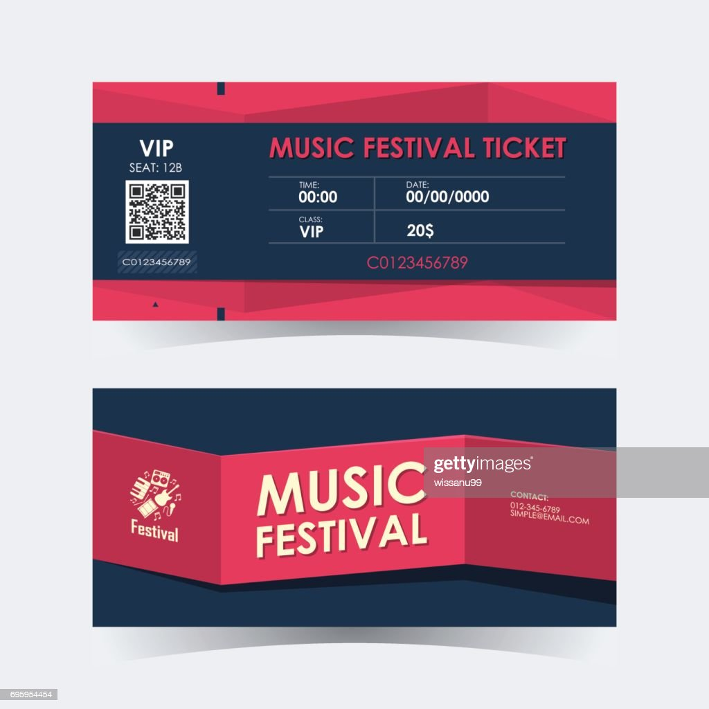 Music festival ticket Card. Element template for design. Vector illustration.