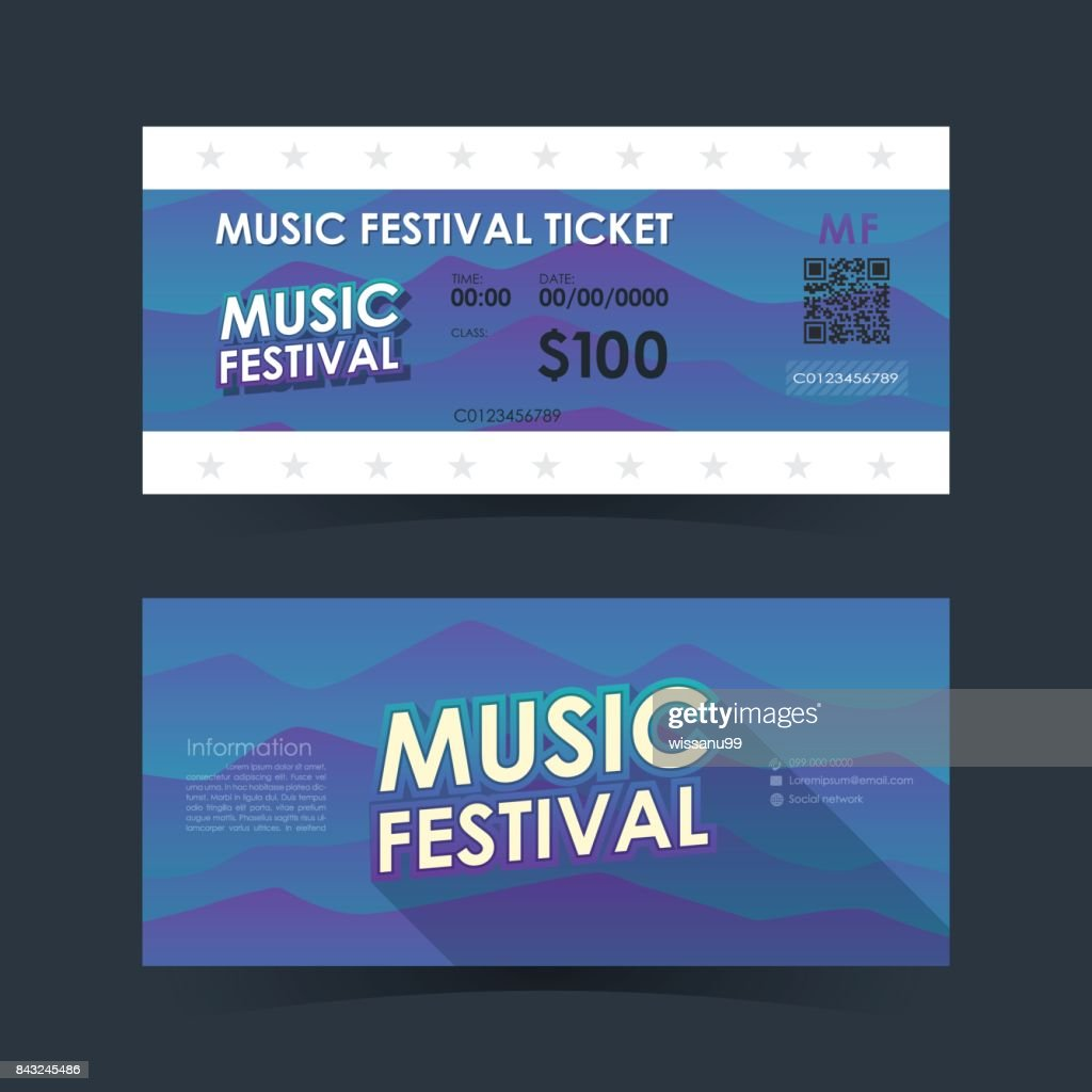 Music festival ticket Card. Mountain element template for graphics design. Vector illustration.