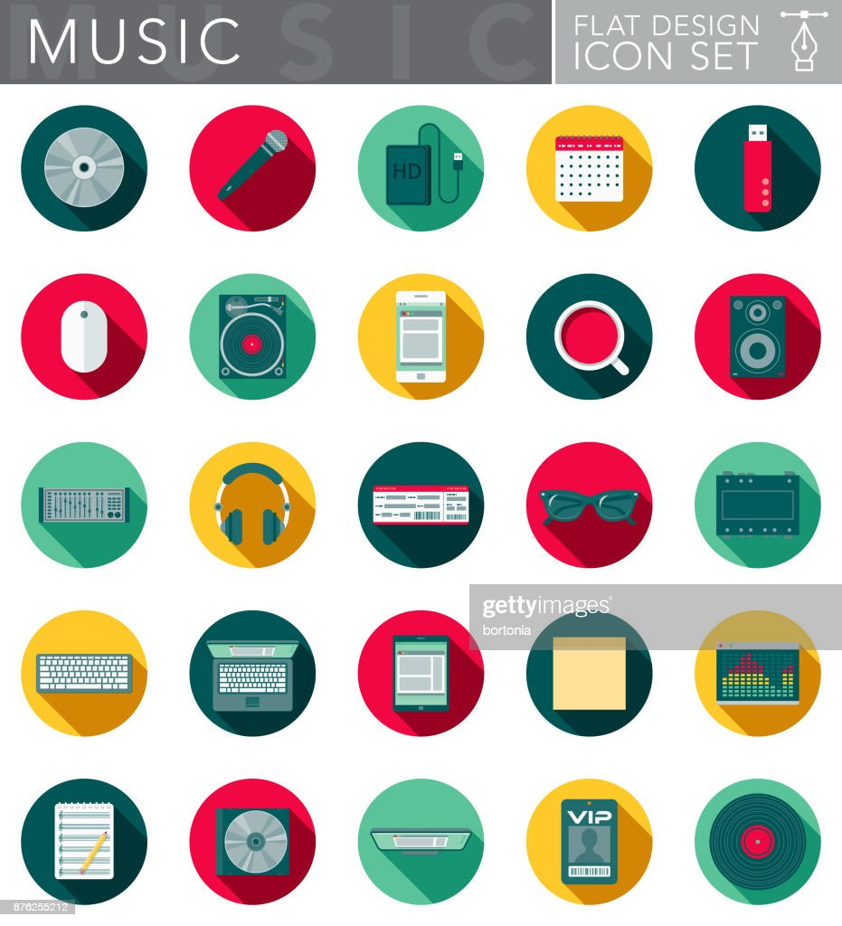 Music Flat Design Icon Set with Side Shadow