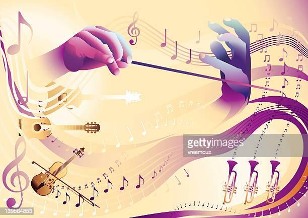 ilustraciones, imágenes clip art, dibujos animados e iconos de stock de música de flujo - director de orquesta