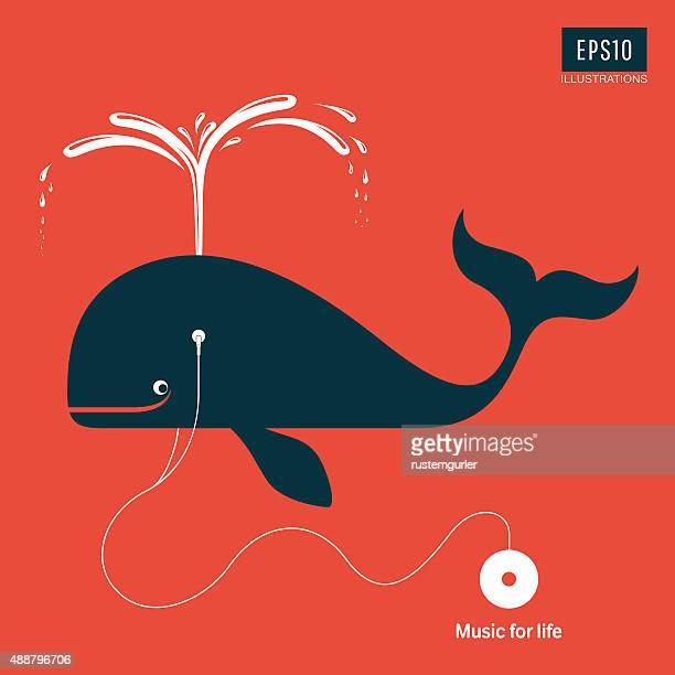 illustrations, cliparts, dessins animés et icônes de musique pour la vie - baleine