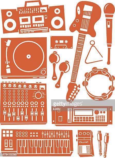 ilustrações de stock, clip art, desenhos animados e ícones de equipamento de música - pandeiro