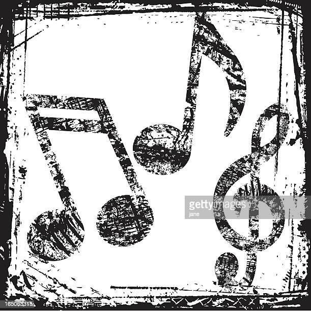 music grunge - treble clef stock illustrations, clip art, cartoons, & icons