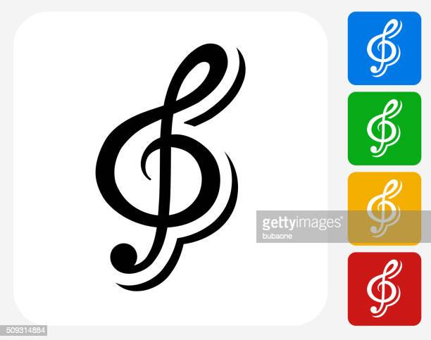 music icon flat graphic design - treble clef stock illustrations, clip art, cartoons, & icons