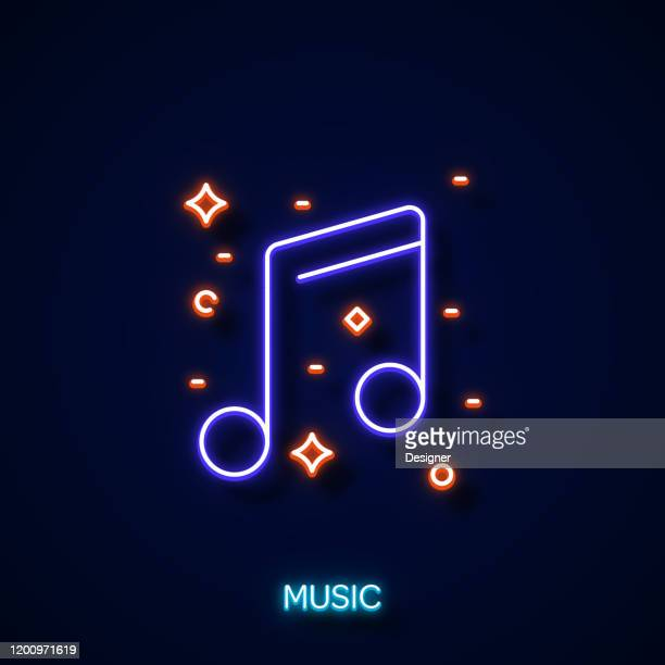 music icon neon style, design elements - royal blue stock illustrations