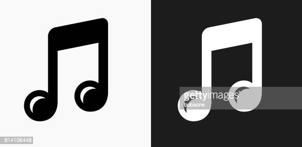 music icon on black and white vector backgrounds - musical note stock illustrations