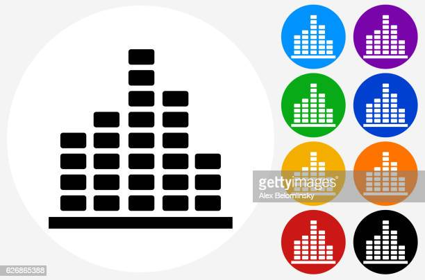 Music Icon on Flat Color Circle Buttons