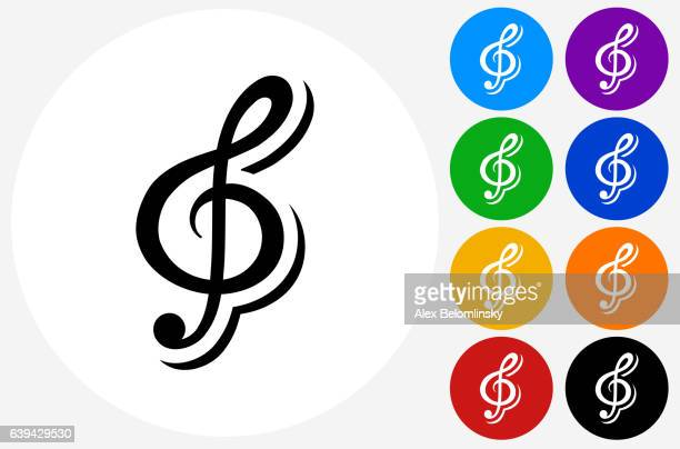 music icon on flat color circle buttons - treble clef stock illustrations, clip art, cartoons, & icons