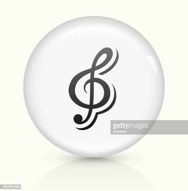 music icon on white round vector button - treble clef stock illustrations, clip art, cartoons, & icons