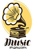 Music icon or label. Retro gramophone, phonograph symbol. Vector illustration