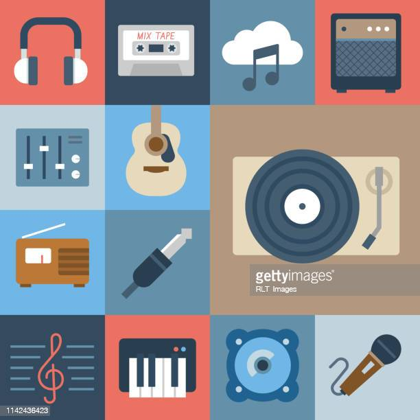 music icon set — grid series - musician stock illustrations, clip art, cartoons, & icons