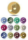 Music icon set, note symbol in flat design with long shadow, different color variants,