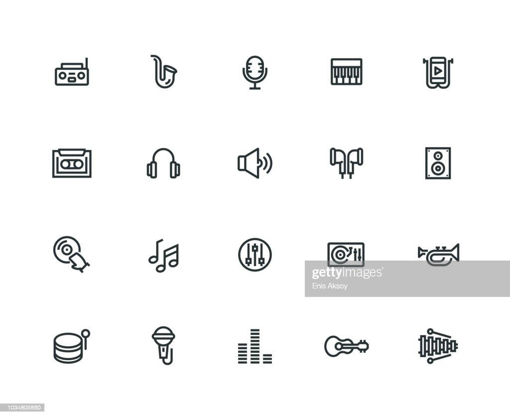 Music Icon Set - Thick Line Series