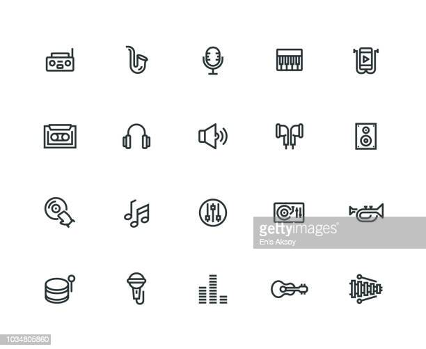 music icon set - thick line series - musical instrument stock illustrations, clip art, cartoons, & icons