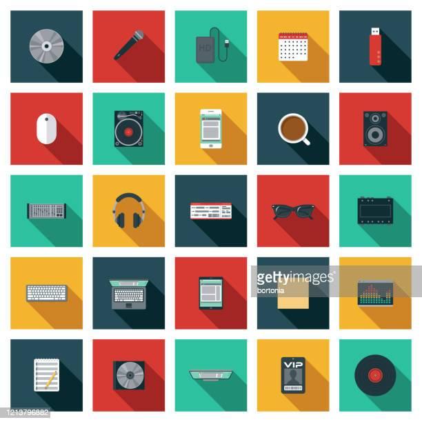 illustrazioni stock, clip art, cartoni animati e icone di tendenza di set di icone musica dj - studio di registrazione