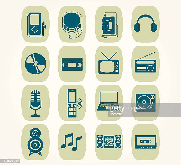 music icon - personal compact disc player stock illustrations